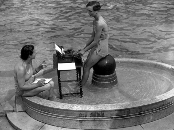 Two ladies doing secretarial work in fountain